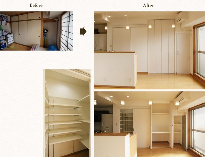 収納の少ないアイランドキッチンには収納力のあるパントリーを設置