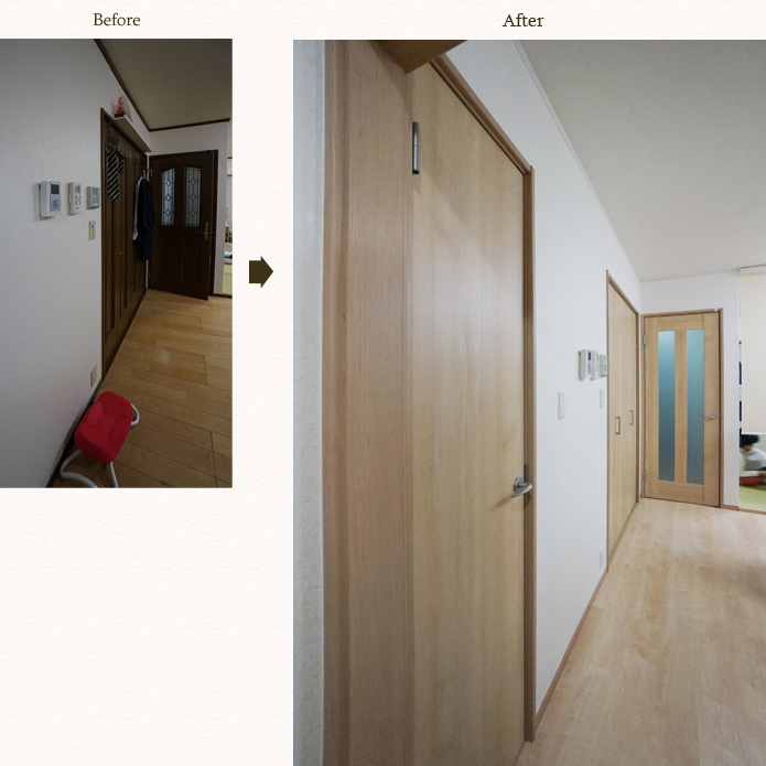 ドアをダーク色からメイプル色に取替え